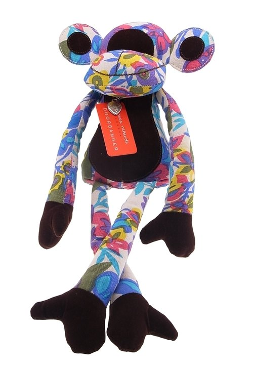 Monkey shape animal doorstop - colorful flowers