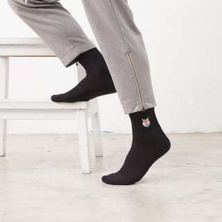 Black Compression Socks with Shiba Embroidery