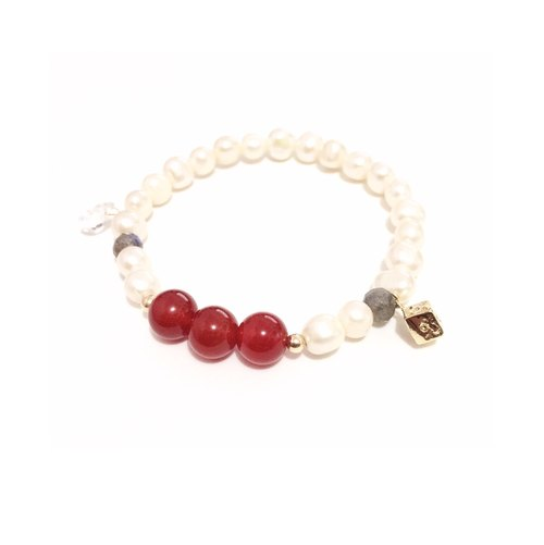Easter Mood Agate with Pearl Bracelet
