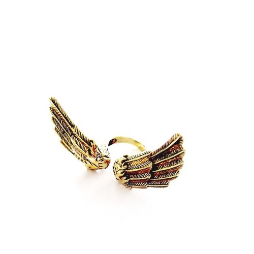 Angel wing  ring in brass with oxidized antique color ,Rocker jewelry ,Skull jewelry,Biker jewelry