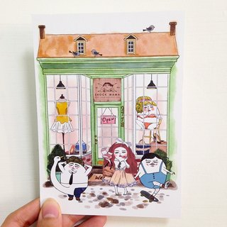 Eggheads clothing store  postcard