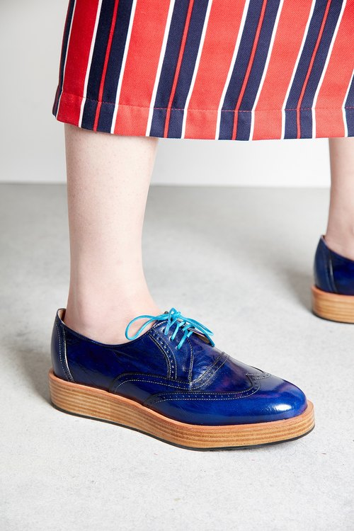 H THREE Derby shoes / deep blue / thick bottom / Derby