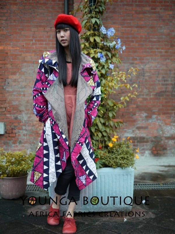 Post Free Shipping! Ocean Ga colorful African fabric long coat cardigan!
