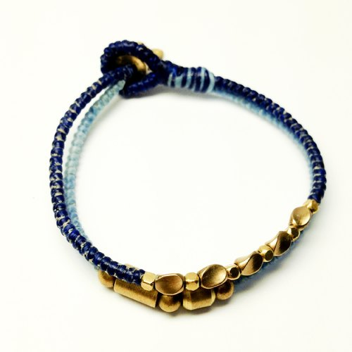 Blue coral. Double series ◆ Sugar Nok ◆ hand-woven wax wire bracelet brass