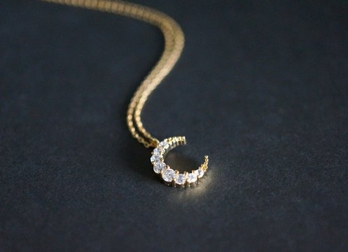 【14 KGF】 Necklace, Crescent Moon