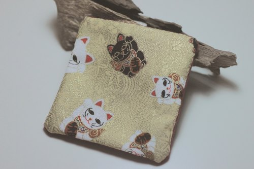 Happy traveler. Wind Lucky Cat - embroidered cabin spell color square coasters