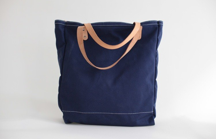 joydivision thick canvas bag with leather shoulder Shoulin blue