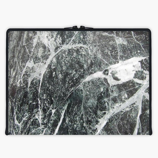 Axis - Custom 3-Sided Zipper Laptop Sleeve - Dark Marble