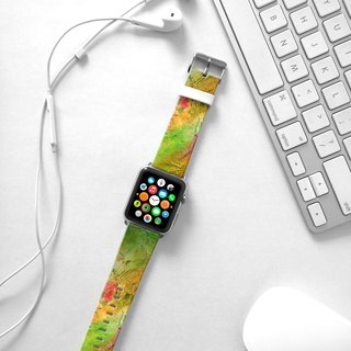 Apple Watch Series 1 , Series 2, Series 3 - Waterpaint abstract color Green Watch Strap Band for Apple Watch / Apple Watch Sport - 38 mm / 42 mm avilable