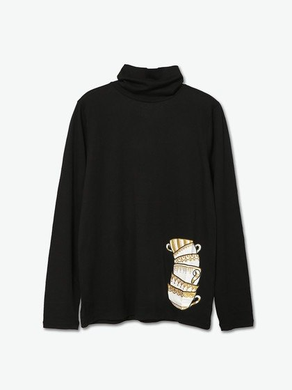 Women's long-sleeved turtleneck shirt printing cup