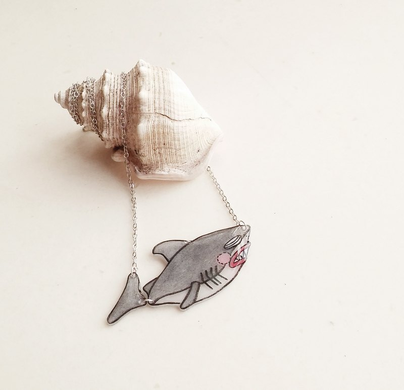 Fish Best friend series- Shark - Hand Drawn - necklace