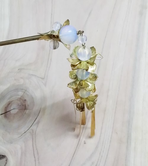 Let Kee Tong Ling Wan Tin Wah ~ ornaments students step by step lotus} {-size opal alloy insert hairpin hair flower hair clasp