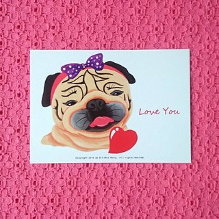 Pug Postcard-Love You