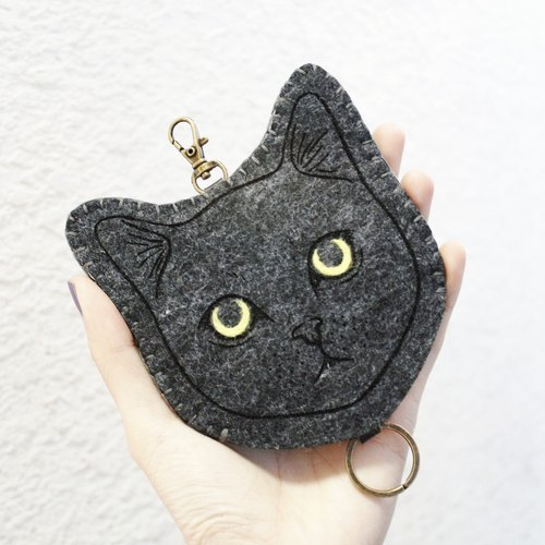 Cat- cat Series - wool felt Wallets Key sets / wool felt key sets < <Gray cat 藍灰貓> > Wool felt gogoro key sets