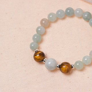 [Woody'sHandmade] Rich Two. Tiger eye stone jade bracelet.