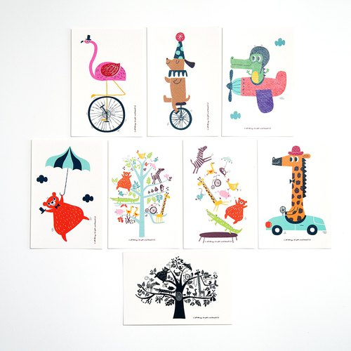 Animals postcard set