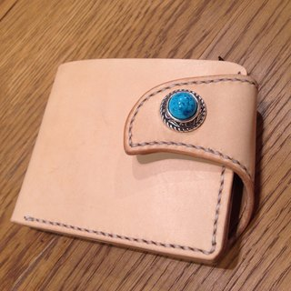 Handmade handmade leather short clip (free printing, embroidered words)