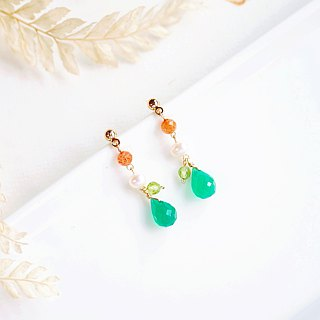 Jelly Green Jade Dragonfly Classical Earrings 14K GF Valentine's Day Natural Stone Light Jewelry Crystal