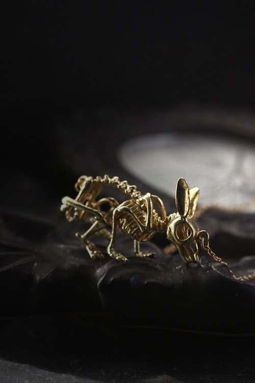 Rabbit Skeleton Necklace by Defy / Unisex Jewelry / Golden Bunny Charm Pendant