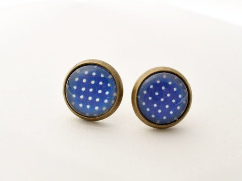 ♥ ♥ OldNew Lady- made a small gift bronze small round earrings - little section [dream navy blue]