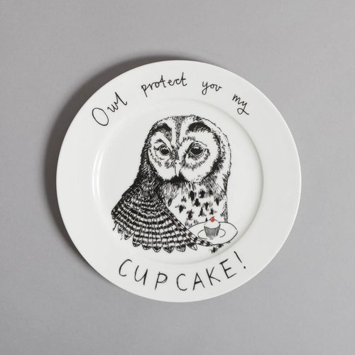 Owl protect you my cupcake bone china plate | Jimbobart