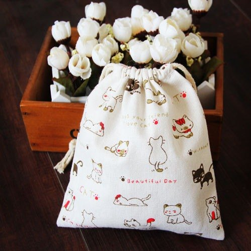 Custom Medium cute cartoon cat cotton cloth drawstring pouch Drawstring bags