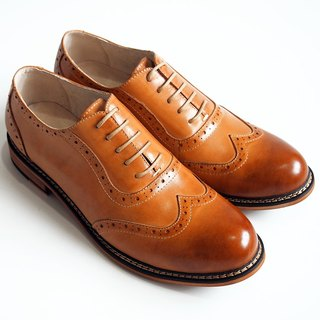 Hand-painted calfskin leather veins with carved leather shoes - Caramel - Free Shipping - D1A32-89