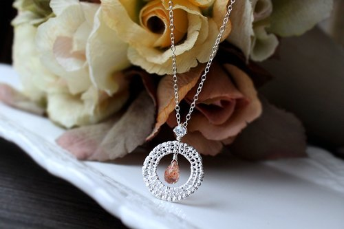 Journal levy Love / Sun, zircon, silver lace necklace