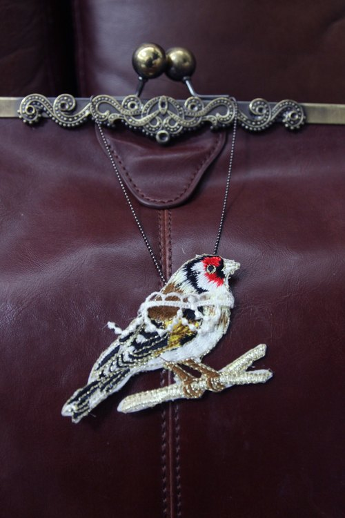 Bird embroidery necklace