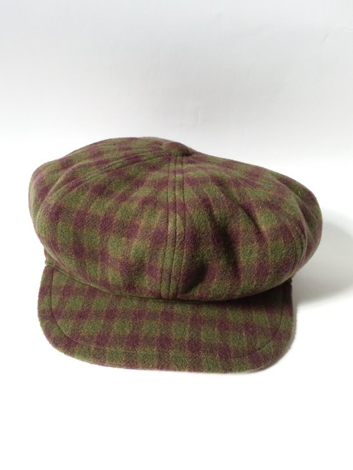 Purple green checkered soft reported bonnet