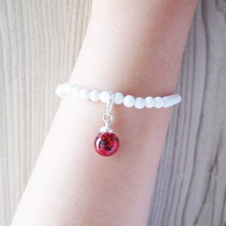 * Rosy Garden * large red sequins flow glass ball with white snowflake bracelet Mashan Yu