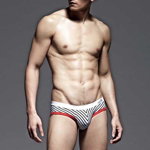 UNDERNEXT2 stripe low-waist briefs thick strips / red