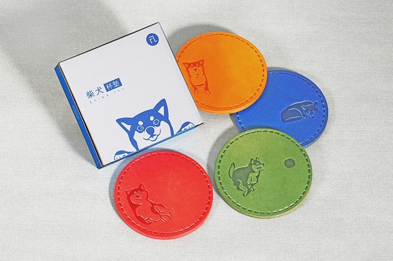 FL brand / dog family coaster round leather Product Code: CD-2