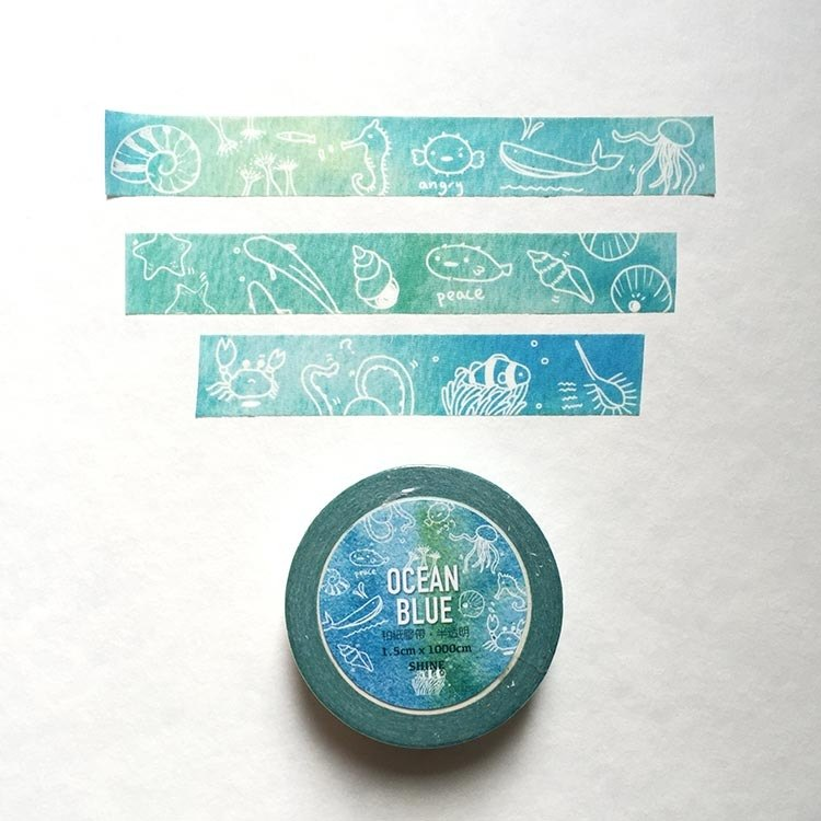 Ocean Blue watercolor fresh and paper tape PDA necessary {}