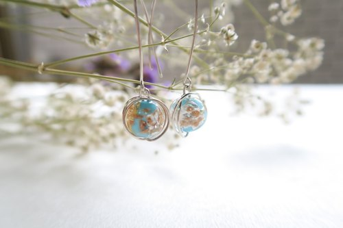 925 Silver Powdered-blue Glitter Colored-glass Earrings-Sold as a Pair