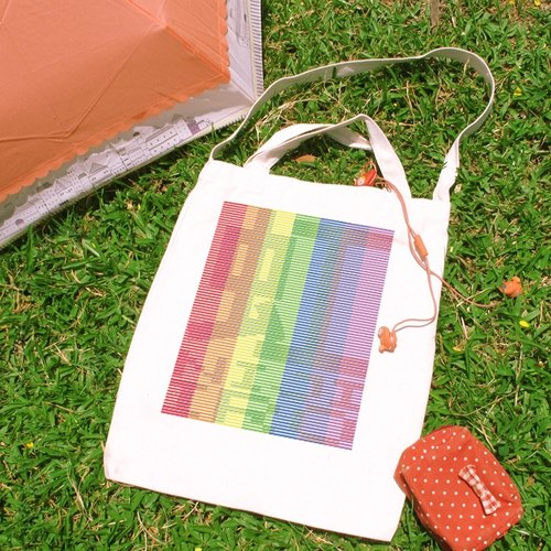 Rainbow color (nijiiro) Cultural & Creative wind straight canvas bag