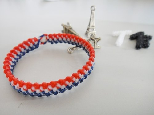 French flag wind bracelet wax line silk