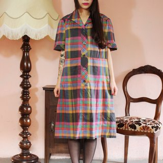 F1152 (Vintage) gray checkered pink vintage dress