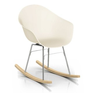 TOOU ArmShell oak rocking chair with a foot (Beige)