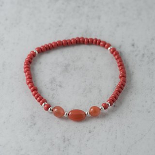 【Woody'sHandmade】Sunset. A red glass bracelet a. Agate ore master bead
