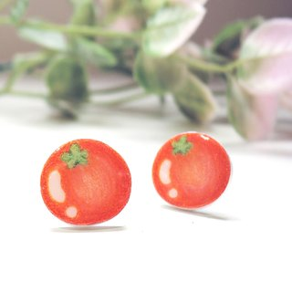 Red tomato handmade earrings anti-allergic ear pin painless ear clip