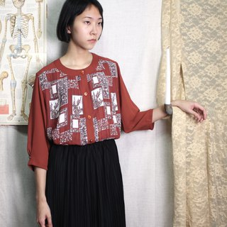 FOAK vintage retro red baroque checkered pleated shirt