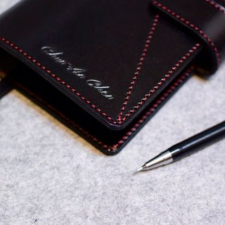 Handmade leather A6 bevel Cikou loose-leaf notebook show personality stitching leather black + red