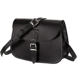 JOYDIVISION VINTAGE Women's Cowhide Leather Purse Handmade Saddle Flapover Shoulder Bag Black