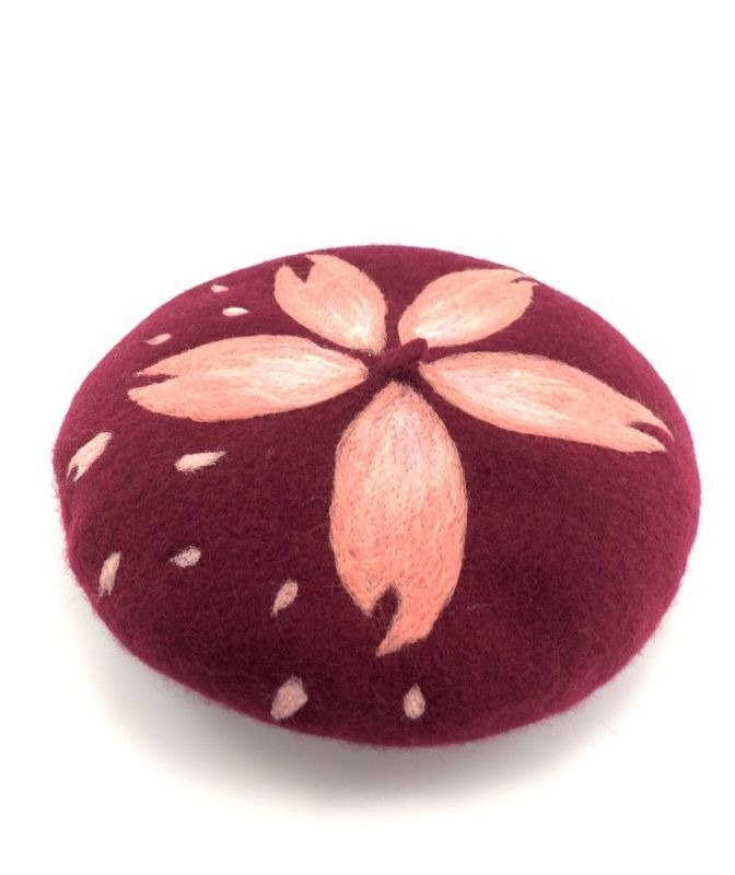 Wine red cherry pattern beret painter cap wool felt beret stunning atmosphere exclusive sale new listing