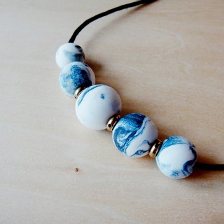 Clay Marble Blue Copper Necklace