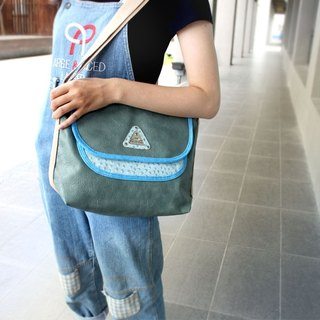 AMINAH-True cowhide ostrich embossed casual shoulder bag - lake green [am-0239]