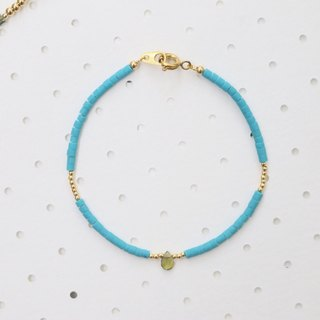 Coral tourmaline brass bracelet 0653(The color of the sea)