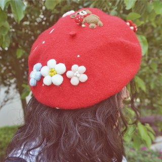 Hand-made! Handmade wool felt hat painter cap mushroom flower child Cubs