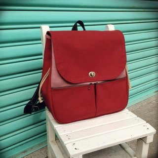 Clare cloth hand-made vintage burgundy canvas Backpack *